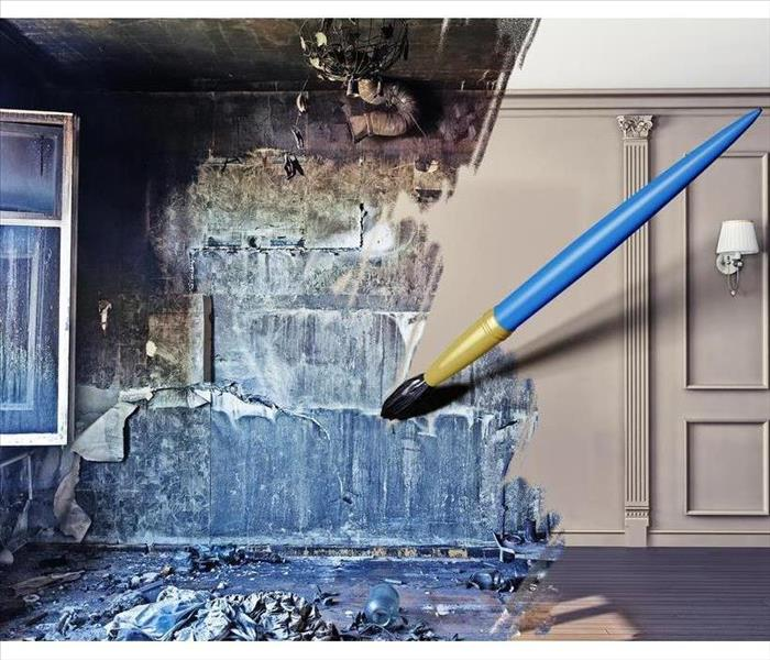 Before and after art picture of a home with mold and there is a blue paint brush